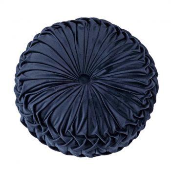 Fluwelen Kussen Ottoman - Rond - Blauw -Velvet (incl. vulling)