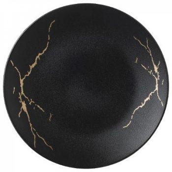 Dinerbord Marble - Porselein - Goud/Zwart - Ø 26 cm