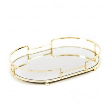 Mirror Tray Glamour - Metalen spiegel dienblad - Goud