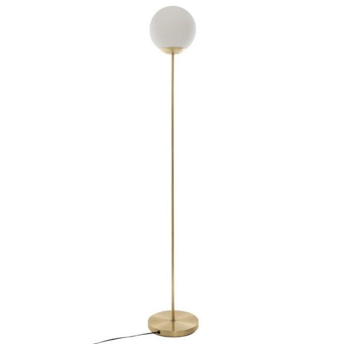 Design Vloerlamp Paris - Goud - Frosted Glas Bal - H 134 cm