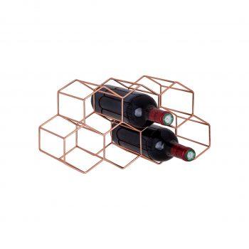 wijnrek koper hexagon