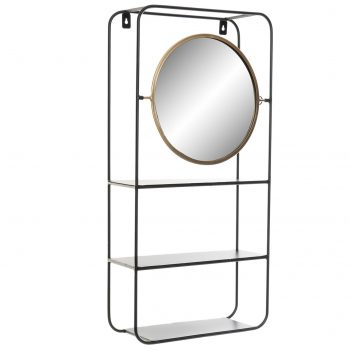 Wandrek met Spiegel Eleganca Square - Zwart - Goud - 32 X 12 X 65 cm