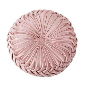Fluwelen Kussen Ottoman - Rond - Roze -Velvet (incl. vulling)