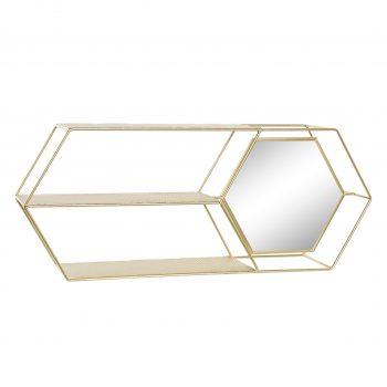 Wandrek met Spiegel Eleganca Hexagon - Goud - 60 x 25 x 14 cm