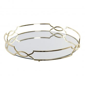 Mirror Tray Luxurious Rond- Metalen spiegel dienblad - Goud - Ø 35 x H 5 cm