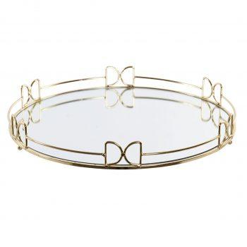Mirror Tray Elegance Rond- Metalen spiegel dienblad - Goud- Ø 35 x H 5 cm