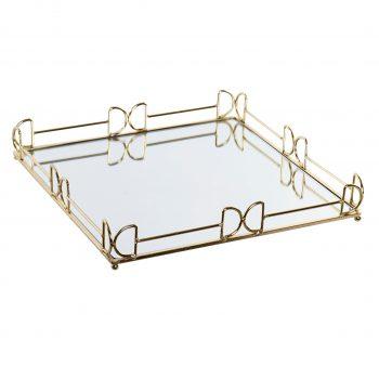 Mirror Tray Elegance Vierkant - Metalen spiegel dienblad - Goud - Ø 35 x H 5 cm