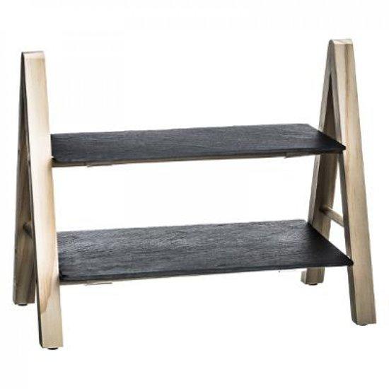 Etagère 2 Etages Leisteen - Dennenhout - 32x27x18cm