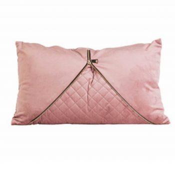Sierkussen Velvet Glam Zipper- Roze - Goud - 30 x 50 cm (incl. vulling)