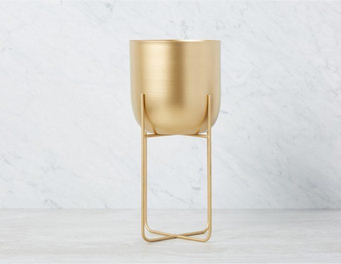 Bloempot Glamour Goud Rond met Standaard - Metaal - L - Ø 20 x H 40 cm