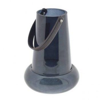 Glazen vaas / windlicht Smokey Zwart - H26 cm