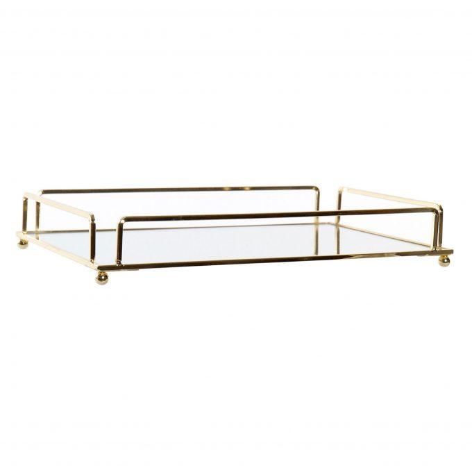 Mirror Tray Elegance Rechthoek - Metalen spiegel dienblad - Goud - 30 x 20 x 5 cm
