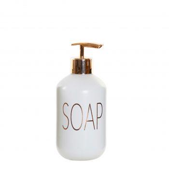 Glazen Zeep pompje/dispenser Soapy - Wit /Koper