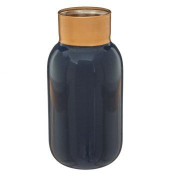 Glazen vaas Manila - Antraciet Grijs/Goud - Ø 12x 25 cm