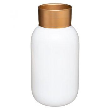 Glazen vaas Manila - Wit/Goud - Ø 12x 25 cm