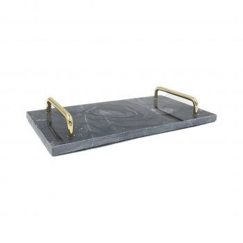Marble Tray - Serveer Dienblad - Zwart Marmer - Goud