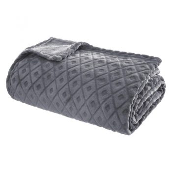 Flanellen fleece plaid Cubic Grijs - XL 180 x 230 cm