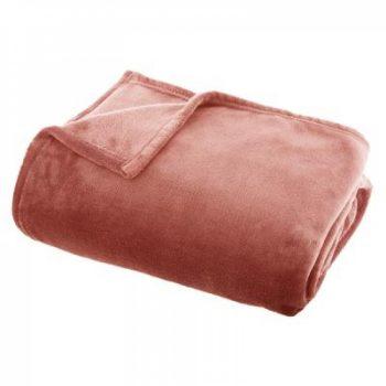 Flanellen fleece plaid Diep Roze - L 120 x 160 cm
