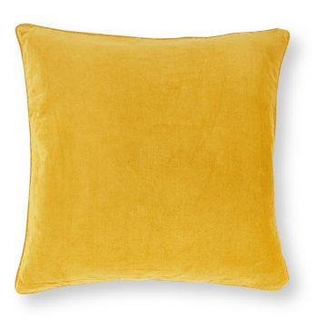 Velvet kussen Ocre - Oker geel - 45 x 45 cm (incl. vulling)