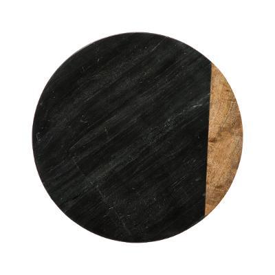 Draaiplateau Serveerplank Marble Zwart - Draaischijf van 100%Marmer & Hout - Ø30CM