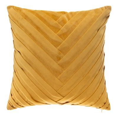 Fluwelen Kussen Weave Oker Geel - Velvet - 40 x 40 cm (incl. vulling)