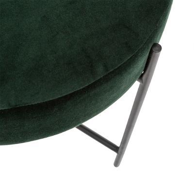 Velvet Poef/Voet bankje Tijm Groen met Zwarte Onderstel - Ø 47 x H 45 cm