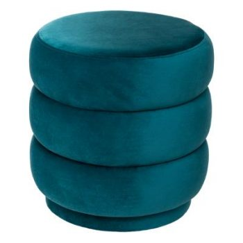 Velvet Poef Donut - Petrol Blauw - Goud - Ø40 cm x H 40 cm
