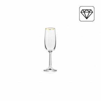 Set van 6 - Champagne glas - Gouden Rand -170ML