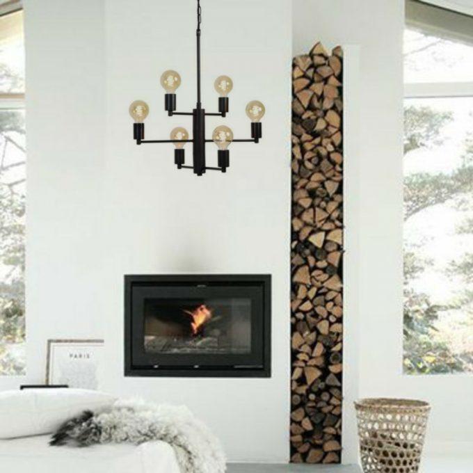 Design Hanglamp / Kroonluchter Zi - Zwart - 6 lichts