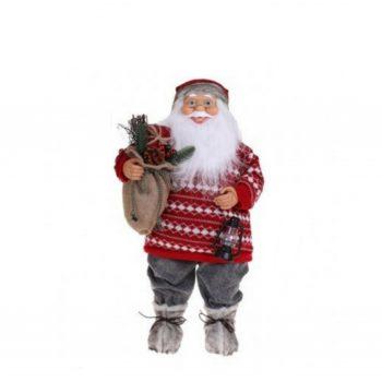 Kerstman met Wollen Trui - Rood/Grijs - H45cm