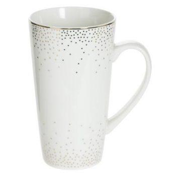 Thee / Koffie / Caffè latte Mok Glam - Porselein - Wit / Goud- 500ML