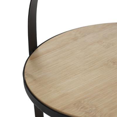 Etagère 2 Etages Bamboe - Leer - Ø19,5cm x H25cm