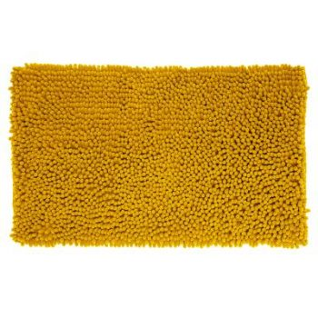 Badmat Chenille Hoogpolig Oker Geel - 80 x 50 cm