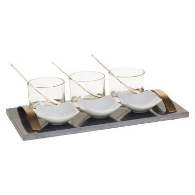 Marble Tray Tapas Set - Serveer Dienblad - Zwart Marmer - Goud