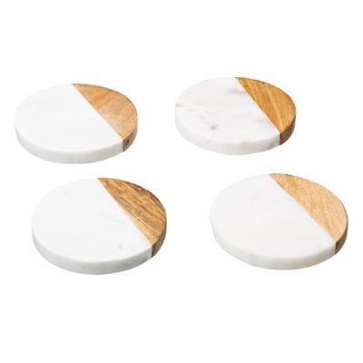 Marmeren onderzetters Marble Rond Coaster Wit - 4 stuks
