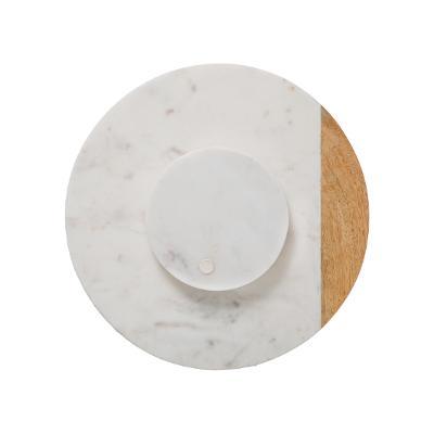 Draaiplateau Serveerplank Marble - Draaischijf van 100%Marmer & Hout - Ø30CM