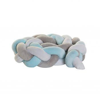 Gevlochten Baby Bed Bumper - Blauw/Grijs/Wit - 1.5M