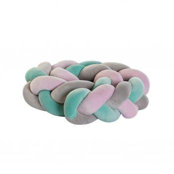 Gevlochten Baby Bed Bumper - Roze/Grijs/Turquoise - 1.5M