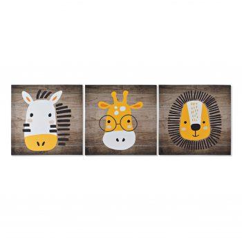 Animal Canvas Set van 3 - Giraffe, Zebra & Stoere Leeuw - L 40 x H 40 cm