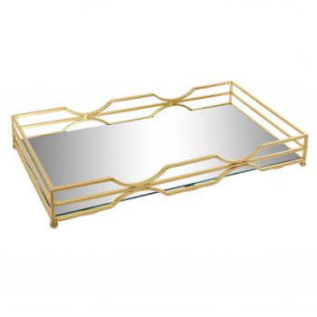 Mirror Tray Luxurious Rechthoek - Metalen spiegel dienblad - Mat Goud - 38 x 18 x 5 cm