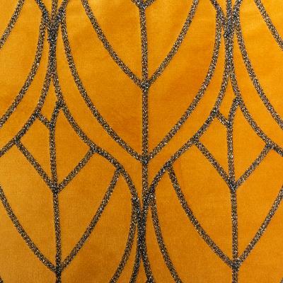 Fluwelen Kussen Leaf - Oker - Velvet - 40 x 40 cm (incl. vulling)