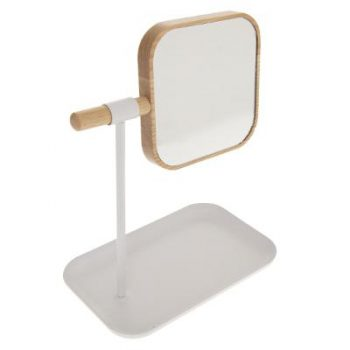 Make-up spiegel Bamboe Wit op standaard met sieraden bakje - H26cm