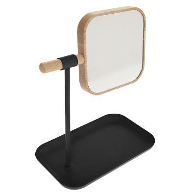 Make-up spiegel Bamboe Zwart op standaard met sieraden bakje - H26cm