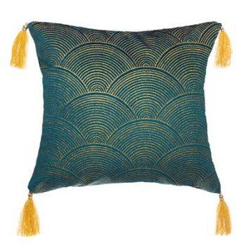 Sierkussen Velvet Pauw met kwastjes - Blauw - Goud - 40 x 40 cm (incl. vulling)
