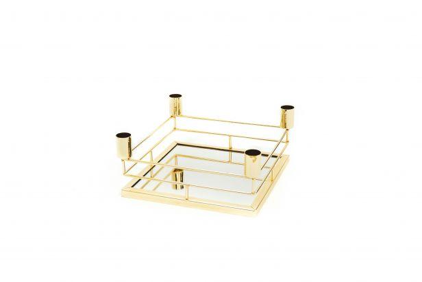 Mirror Tray Kandelaar Vierkant - Goud - L21 x B21 x H9 cm