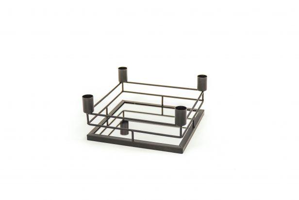 Mirror Tray Kandelaar Vierkant - Zwart - L21 x B21 x H9 cm