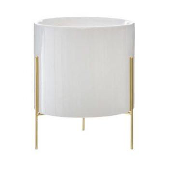 Bloempot Keramiek met Gouden onderstel - Wit - H23cm