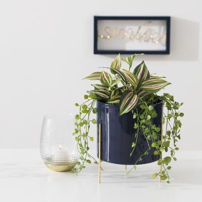 Bloempot Keramiek met Gouden onderstel - Donker Blauw - H23cm