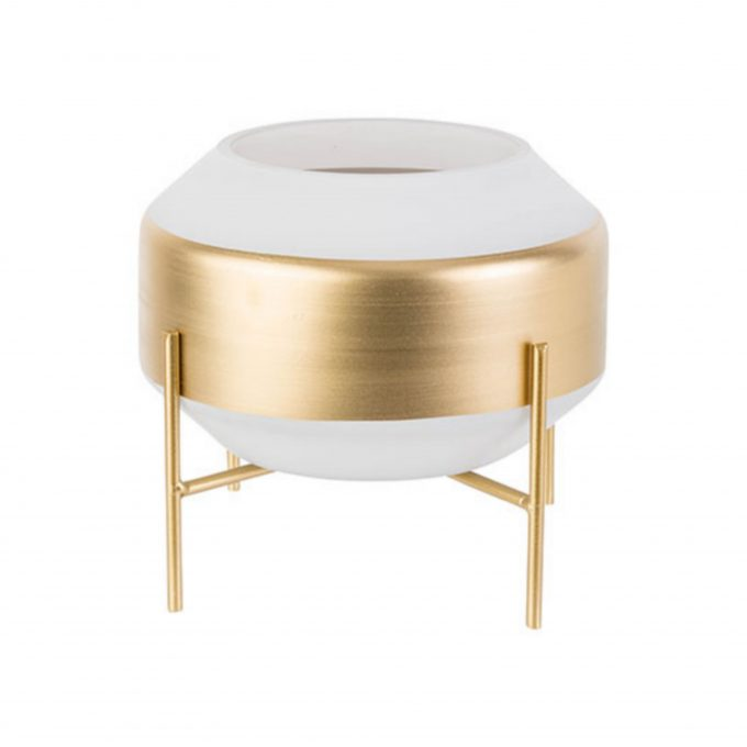 Vaas Spirit Wit met Gouden Onderstel - Ø22 cm