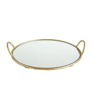 Mirror Tray Elite Rond- Metalen spiegel dienblad - Goud - Ø 35 x H 7 cm